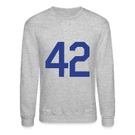 Long Sleeve Shirts ~ Men's Crewneck Sweatshirt ~ Jackie Robinson 42 Crewneck Sweatshirt