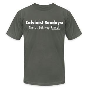 Calvinist Sundays (white lettering for darker shirts) - Men's T-Shirt by American Apparel