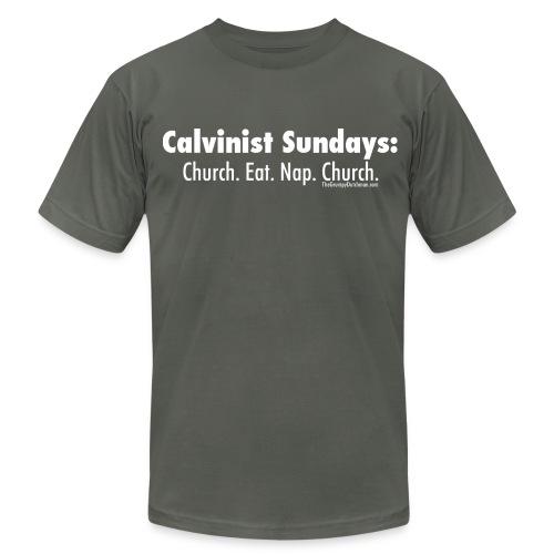 Calvinist Sundays (white lettering for darker shirts) - Men's Jersey T-Shirt