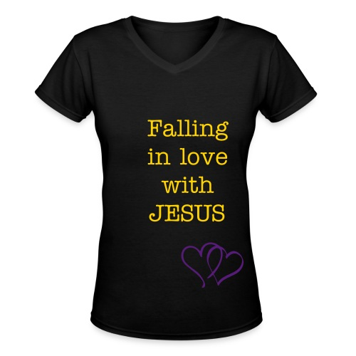 Falling in love with JESUS - Women's V-Neck T-Shirt