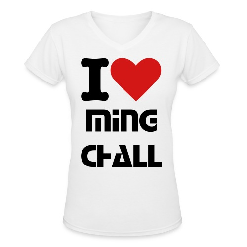 Women's I Heart MingChall V-Neck T-shirt - Women's V-Neck T-Shirt