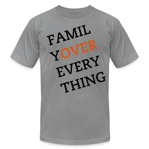 Family Over Everything Black/Orange Tee - Men's Fine Jersey T-Shirt