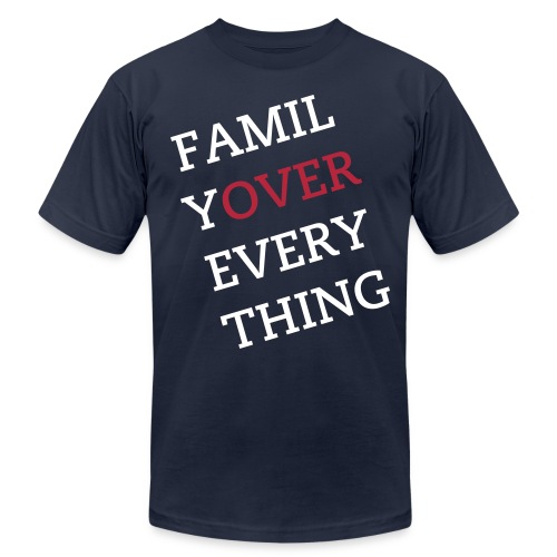 Family Over Everything White/Red Tee - Men's Fine Jersey T-Shirt