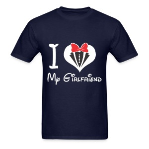 I LOVE MY GIRLFRIEND Funny Heart Girl College Tee Cotton T-Shirt - Men's T-Shirt