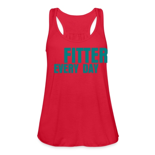 Fitter Every Day tank - Teal on Red Marble - Women's Flowy Tank Top by Bella