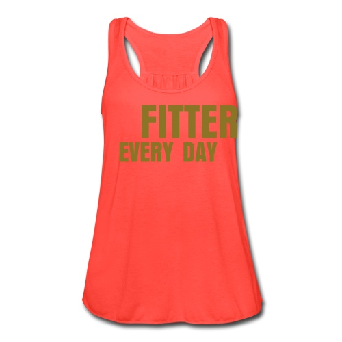 Fitter Every Day tank - Metallic on Coral - Women's Flowy Tank Top by Bella