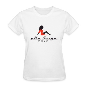 Women's T-Shirt - PKE Surge is the annual gathering of ghostheads at Dragon*Con in Atlanta, GA. This shirt celebrates the event with a red and black logo on a white shirt.