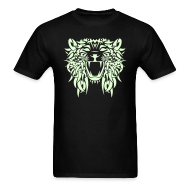 T-Shirts ~ Men's T-Shirt ~  TRIBAL LION - GLOW IN THE DARK T-Shirt - Adult Size