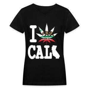 I Weed California Map - Women's V-Neck T-Shirt
