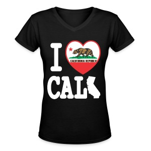 I Heart Cali MAP - Women's V-Neck T-Shirt
