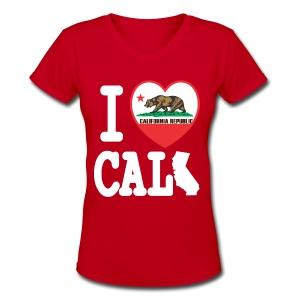 I Heart Cali MAP - Women's V-Neck T-Shirt