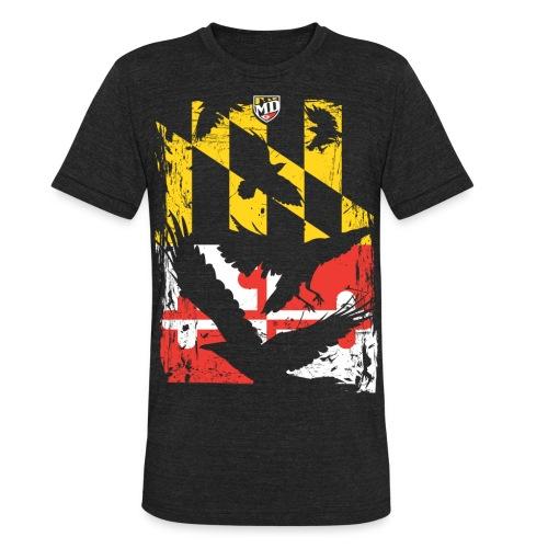 MD Flag Birds Silhouette - Unisex Tri-Blend T-Shirt