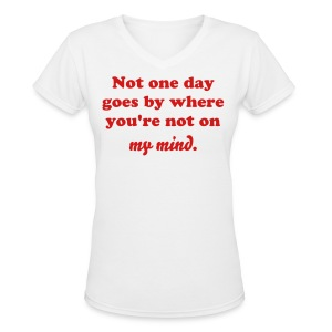 Design on back. - Women's V-Neck T-Shirt