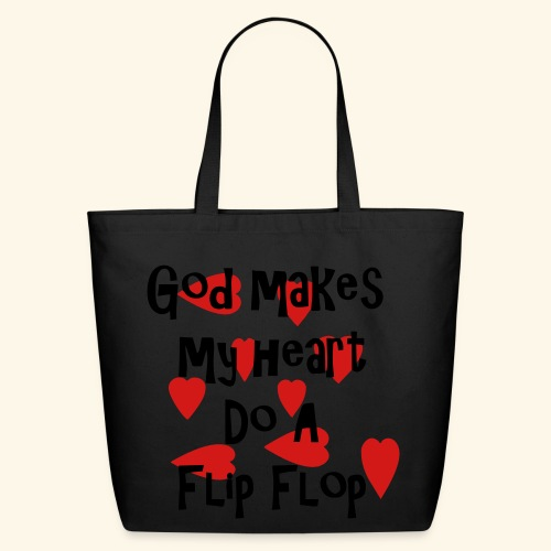 God makes my heart do a flip flop - Eco-Friendly Cotton Tote