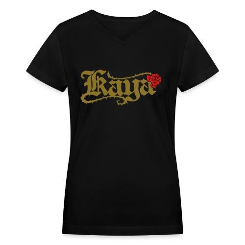 [W] Kaya Rose - Women's V-Neck T-Shirt