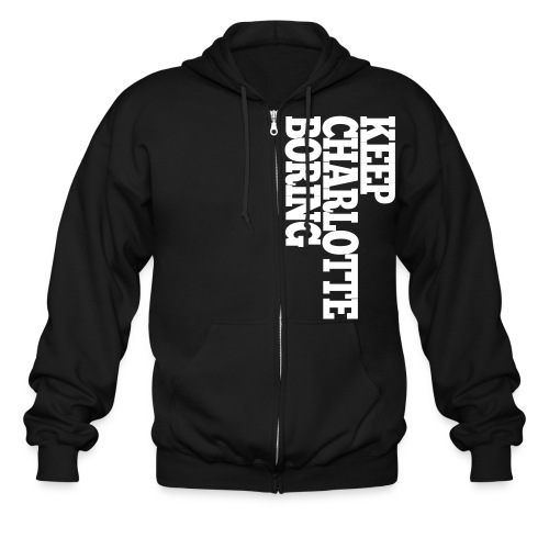 Men's Zip Hoodie - HELP!!!!. Keep Charlotte Boring's original design featuring Keep Charlotte Boring text printed on pocket. With large SEND HELP printed center chest. Help us keep it real and start showing your support for Keep Charlotte Boring.