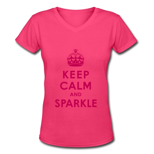 Keep Calm And Sparkle Tee - Women's V-Neck T-Shirt