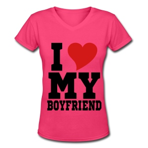 I heart my BF - Women's V-Neck T-Shirt