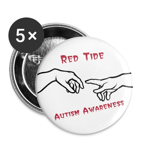 Red Tide Autism Awareness Buttons - Large Buttons