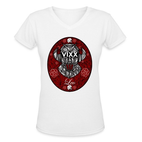 VIXX Stained Glass- Leo - Women's V-Neck T-Shirt