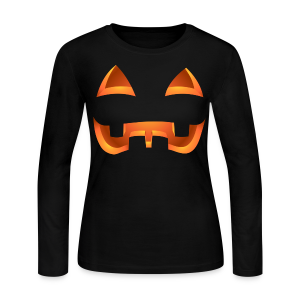 Jack-o-lantern Halloween Shirt Womens' Pumpkin Shirts - Women's Long Sleeve Jersey T-Shirt
