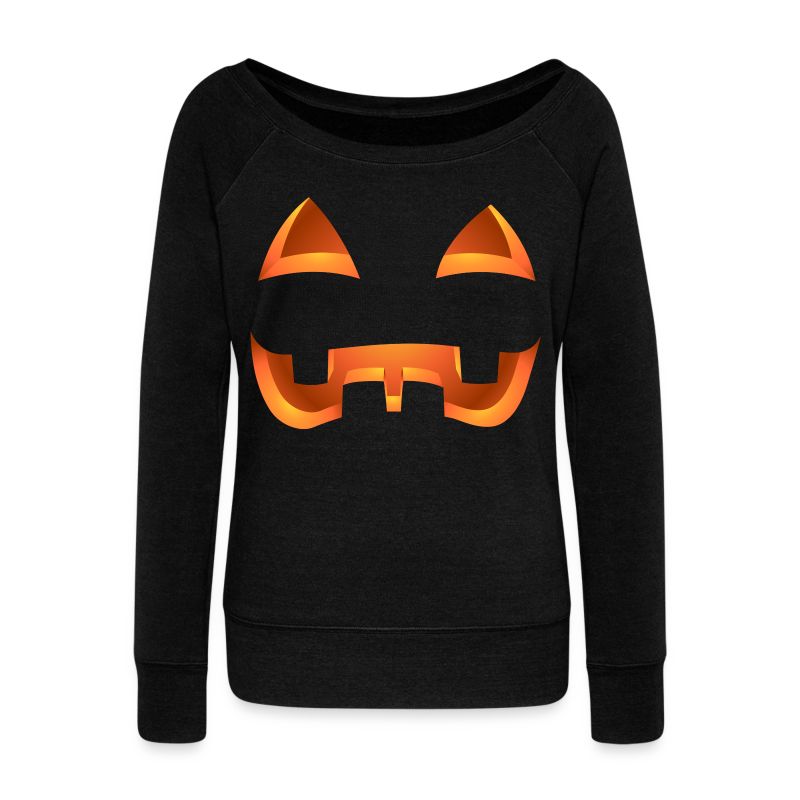 Jack-o-lantern Halloween Shirt Women's Pumpkin Sweatshirt - Women's Wideneck Sweatshirt
