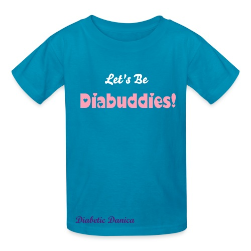 Let's Be Diabuddies - Kid's Bright Blue Heart Letters - Kids' T-Shirt