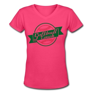 Softball Coach Retro Style T-Shirt - Women's V-Neck T-Shirt
