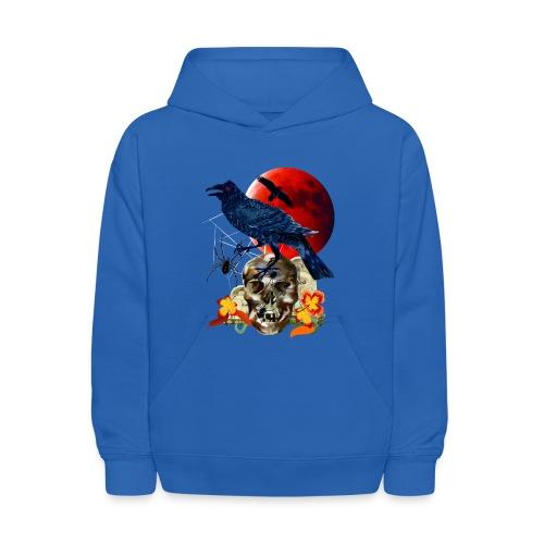 Black Raven-Red Moon  - Kids' Hoodie