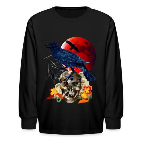 Black Raven-Red Moon  - Kids' Long Sleeve T-Shirt