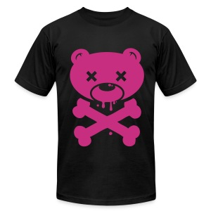 Hot Pink Bear and Crossbones - Men's Fine Jersey T-Shirt