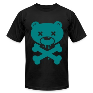 Blue-Green Bear and Crossbones - Men's Fine Jersey T-Shirt