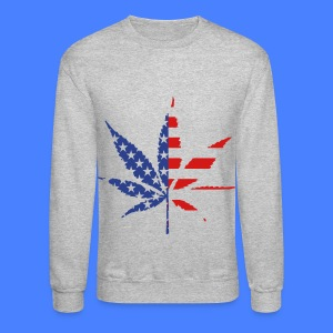 Marijuana Leaf American Flag Long Sleeve Shirts - Crewneck Sweatshirt