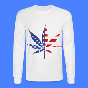Marijuana Leaf American Flag Long Sleeve Shirts - Men's Long Sleeve T-Shirt