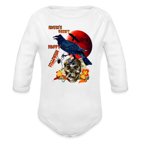Raven and Red Moon-lettered - Organic Long Sleeve Baby Bodysuit