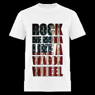 T-Shirts ~ Men's T-Shirt ~ Rock Me Moma Like A Wagon Wheel American Flag Lightweight T Shirt