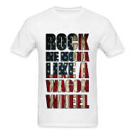 T-Shirts ~ Men's T-Shirt ~ Rock Me Moma Like A Wagon Wheel American Flag Lightweight T Shirt