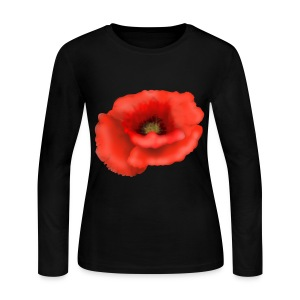 Red Flower Long Sleeve Shirt - Women's Long Sleeve Jersey T-Shirt