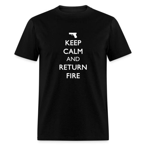 KEEP CALM AND RETURN FIRE [Handgun White Print] - Men's T-Shirt
