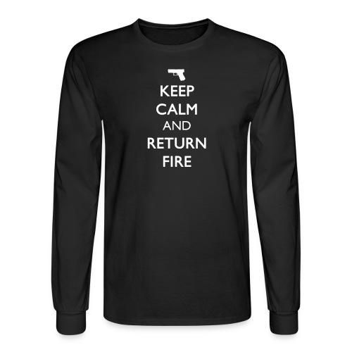 KEEP CALM AND RETURN FIRE Men's Long Sleeve [Handgun White Print] - Men's Long Sleeve T-Shirt