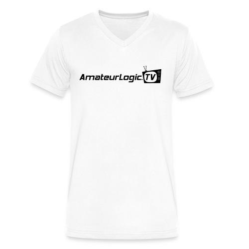 AmateurLogic V-Neck T-Shirt (Black Logo) - Men's V-Neck T-Shirt by Canvas