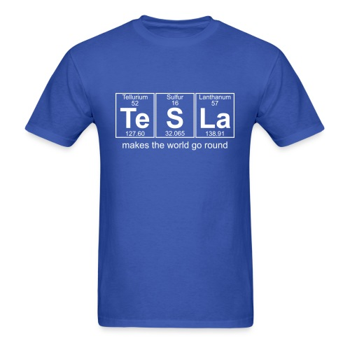 Te-S-La (tesla) makes the world go round - Men's T-Shirt