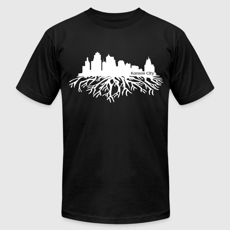 Kansas City Skyline Roots T-Shirts - Men's T-Shirt by American Apparel