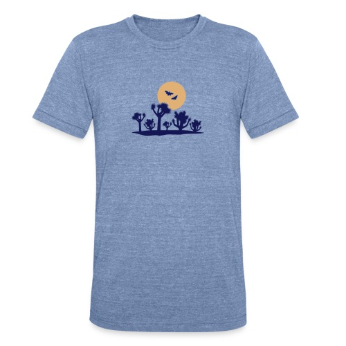 Joshua tree and moths - blue tri-blend tee - Unisex Tri-Blend T-Shirt by American Apparel