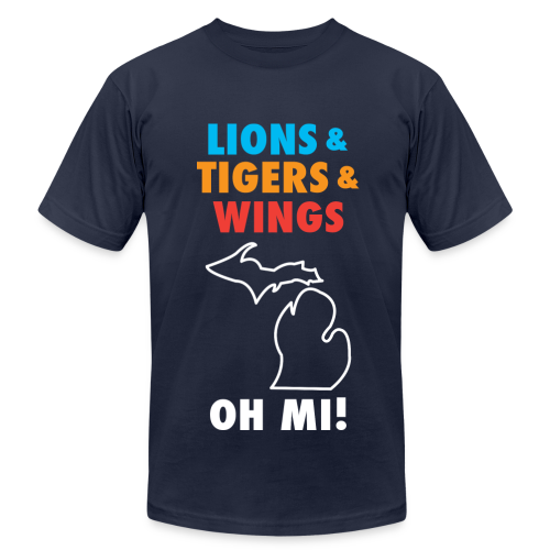 Lions & Tigers & Wings Oh MI! - Men's Fine Jersey T-Shirt