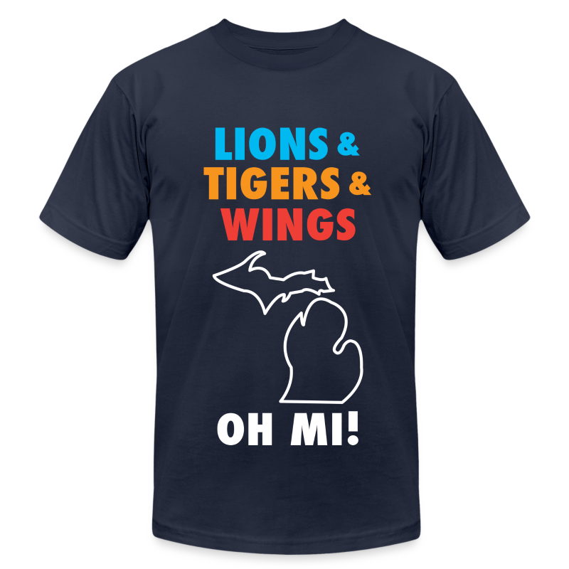 Lions & Tigers & Wings Oh MI! - Men's T-Shirt by American Apparel