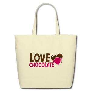 Eco-Friendly Cotton Tote - Chocolate Chick Tote Bag.   Chocolate-Chick.Com is printed on the opposite side of the tote bag.