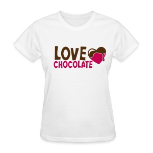 Women's T-Shirt - Chocolate-Chick.Com is printed on the back of the tee.