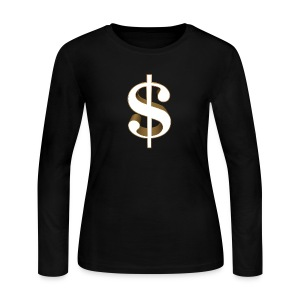Dollar Sign Women's Long Sleeve T-Shirt - Women's Long Sleeve Jersey T-Shirt