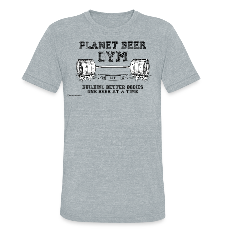 Planet Beer Gym Men's Tri-Blend Vintage T-Shirt  - Unisex Tri-Blend T-Shirt by American Apparel